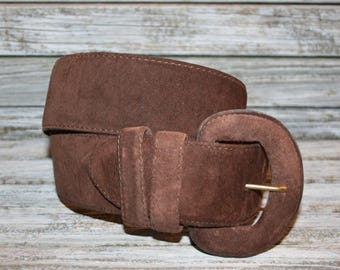 Vintage 80s 1980s Ann Taylor Wide Brown Suede Belt Womens Belts Fashion Accessories