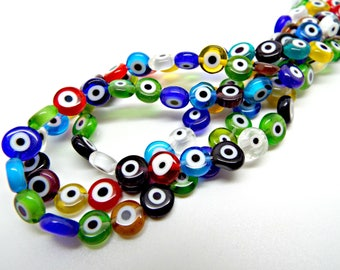Evil Eye Beads, Strand of 50, Flat Round, 8mm Glass Beads, Mixed Color, Lampwork Glass, Evil Eye Jewelry, Lampwork Beads, UK Beading Supply