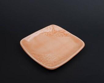 Handmade small ceramic dish, peach with corner texture, slab built, porcelain