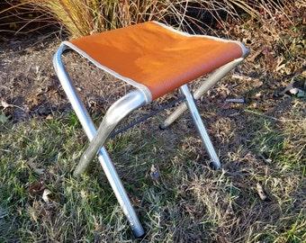 Vintage Retro Aluminum Folding Camp Stool w/ Orange Seat w/ Flowers