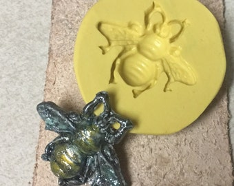 Bee - flexible silicone mold - push mold, jewelry mold, crafts mold, food mold, pmc mold