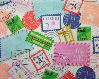 One, 20.5 Inch Piece of Fabric Material - Travel Stamps