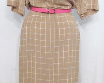 Neiman Marcus 1970s Dress, Below the Knee Length, Elastic Waist, Short Full Sleeves, Tan with White Square Geometric Print, See Sizing Info.