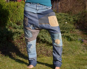 remade jeans,patchwork,upcycling,pants, distressed,trousers