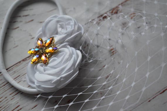 White floral crown christening hairband with veil - Baby / Toddler / Girls / Kids Elastic Hairclip / Hair Barrette  Headband