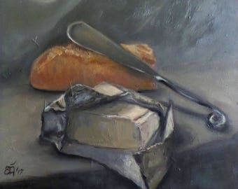 """Original Oil Painting, FREE SHIPPING Worldwide, 7"""" x 6"""",bread and butter, home decor, wall decor, gift for her, new home gift"""