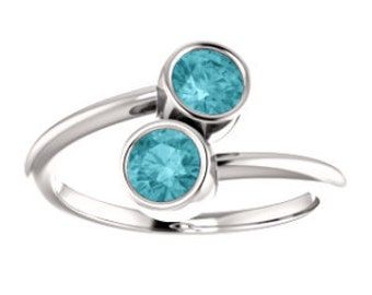 Blue Zircon 14K White Gold Dual Stone Ring, Yellow, Rose Gold, Zircon Engagement