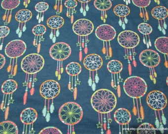 Flannel Fabric - Multi Color Dreamcatchers - By the yard - 100% Cotton Flannel