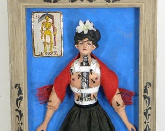 Frida Kahlo Homage Mixed-media Art Mexico Milagro Signed