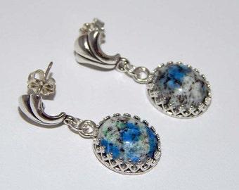 Azurite in Granite Earrings. Azurite Earrings. Azurite Dangle Earrings. Azurite in Granite Cabochon Earrings
