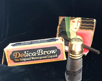 ON SALE!! Vintage Delica-Brow Waterproof Eyelash & Brow Makeup in Frosted Glass Bottle with Instructions, Bone-handled Eyebrow Brush and Ori