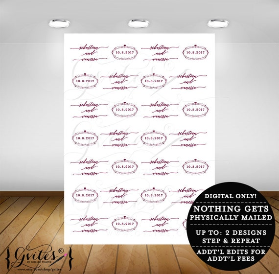 Custom step and repeat backdrop weddings, bridal shower, photo back drop design, step & repeat banner wall sign, digital only, 5feet x 7feet