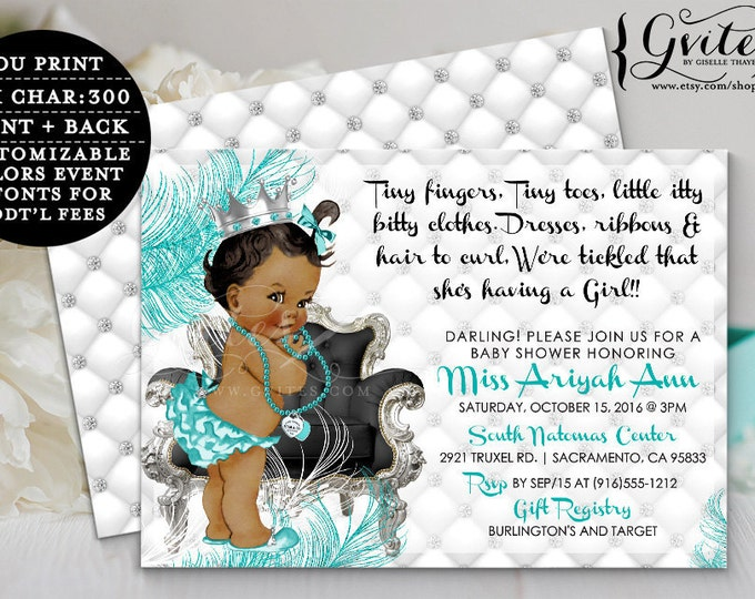 Breakfast at Tiffany' s BABY SHOWER African American invitations, blue and silver, diamonds pearls, princess blue and silver, double sided.