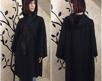 Black Cloak, Cloak with hood, Wool cape, Wool Cloak, Cloak with fur, Witch coat, Hooded coat, Long Wool coat