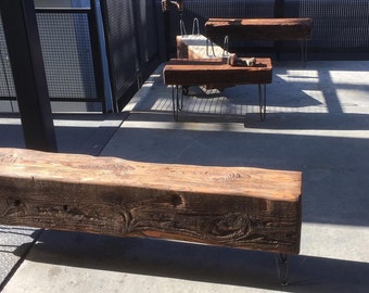 two custom reclaimed benches for jcsivy