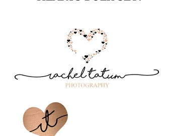 "INSTANT DOWNLOAD Custom Premade Photography Logo and Watermark ""Hearts"" - Exclusive Package Bulk Rate"