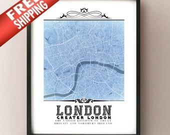 Blueprints etsy london vintage style blueprint map art print london england city map decor united malvernweather Image collections