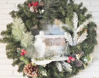 Wreath/Christmas/Holiday/DoorWreath/Handmade/OOAK/WinterScene/Home decor