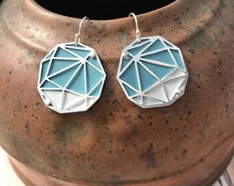 Recycled Tin Geometric Pattern Earrings
