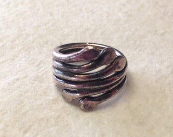 Modernist Handmade Sterling Silver Wrap Swirl Ring- Size 6