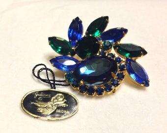 Vintage Confirmed Juliana Emerald Green & Blue Rhinestone Brooch Pin- With Tags!!