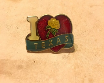 I Love Texas Enamel Lapel Pin