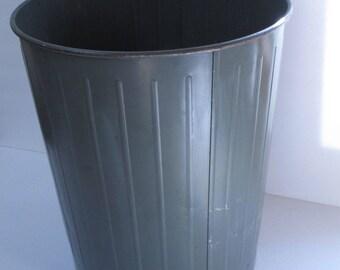 Industrial Garbage Can Industrial Wastepaper Basket Metal Trash Can Green Trash Bin Garbage Pail Metal Wastepaper Basket Industrial Office