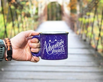 Adventure Awaits Mug 15 oz Campfire Moms, Dads and Grads Blue Speckled Mug Handlettering WildandFreeDesigns camping ceramic outdoors camp
