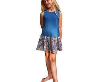 Summer girl's dress, bi fabric, blue jersey top and  floral print skirt, 60's dress,  rock n roll dress, party dress