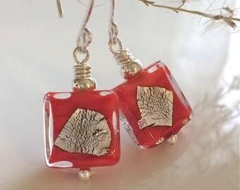 Orange Venetian Glass Earrings / Murano Glass / Square Earrings / Geometric Earrings / Orange Earrings /  Sterling Silver Earrings