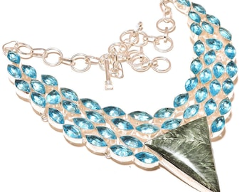 Spiritual Seraphinite, Swiss Blue Topaz Sterling Silver Statement Necklace