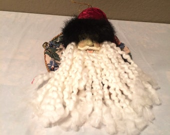 "Beautiful Vintage Santa Head Ornament 4"" Tall by 9"" Wide-Hand Made"