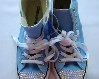 W9 / M7 Unisex baby blue high top Converse with AB rhinestones