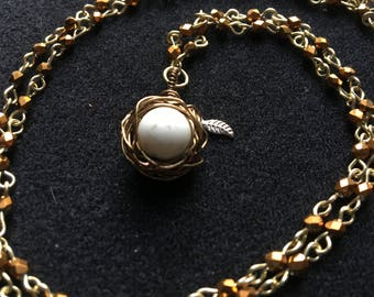 Bird Nest Pendant Necklace; Single Bead