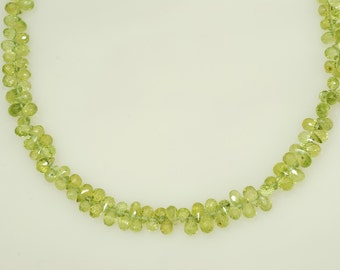 "4x5mm Faceted Peridot Teardrop Shape Briolette 74ct., 9.5"" long"