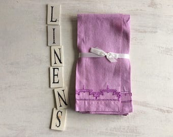 Two Lavender Colored Guest Hand Towels, Decorative Stitching