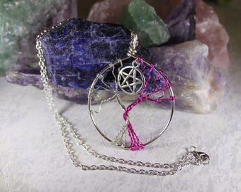 Twisted tree of life pendant, intertwined, pentagram necklace, wire wrapped pendant, Pink jewellery, statement piece, unique, nature design