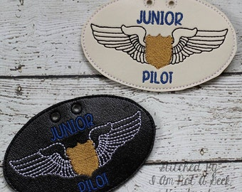 Junior Pilot Badge -  NECKLACE - Airman - Airplane - Wings - In The Hoop - Digital Embroidery Design