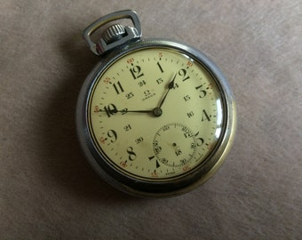 OMEGA Huge 55mm 1916 Vintage Pocket Watch, Silver, Swiss, HIGH-GRADE Vintage