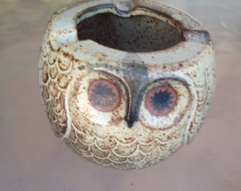 Owl Ashtray, Owl Pottery, Ceramic Owl, Mid Modern Pottery, Mid Modern Ashtray, Mid Modern Tobacciana, Pottery Owl Ashtray, Owl Gifts, MCM
