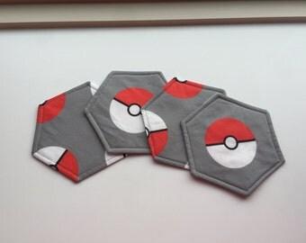 Set of 4 - Mug Rug - Fabric Coaster Set - Reversible - Coffee Coaster - Pokeman - Pokeball