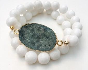 Blue Druzy Geode Stretch Bracelets, set of 2 with white beads