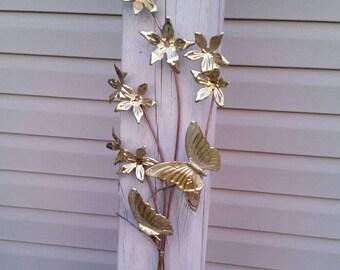 Butterflies & Dogwood Blooms Copper and Brass Wall Sculpture