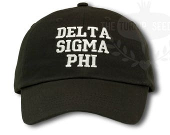 Delta Sigma Phi Fraternity Baseball Cap - Custom Color Hat and Embroidery.