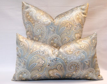 Decorative Designer Richloom Sowell Seaglass Paisley Blue Green Lumbar Pillow Cover 12 x 20 20x20 Contemporary Accent Sofa cushion set