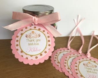 Pink and Gold Princess Personalised Party Thank You Tags ~ for Birthday, Baby Shower, Bridal Shower