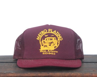 Vintage Metro Plating Chrome Hot Rod Mesa Arizona Maroon Burgundy Trucker Hat Snapback Baseball Cap