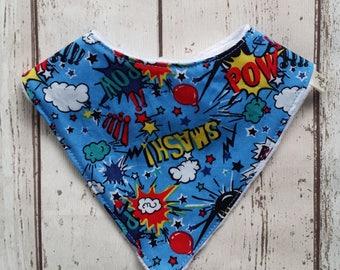 Boys dribble bib, super hero bib, baby bandana, drool bib, bibdana, newborn gift, baby shower, uk