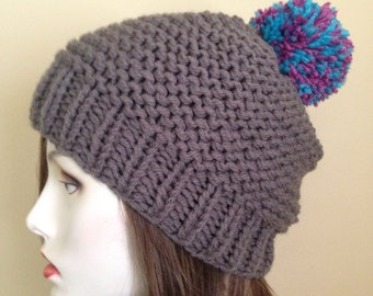 Gray Knit Beanie with Colorful Pompom
