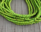 2-3mm Chartreuse Green Coconut Shell Pucalet Rondelle Beads Dyed and Waxed 15 inch strand
